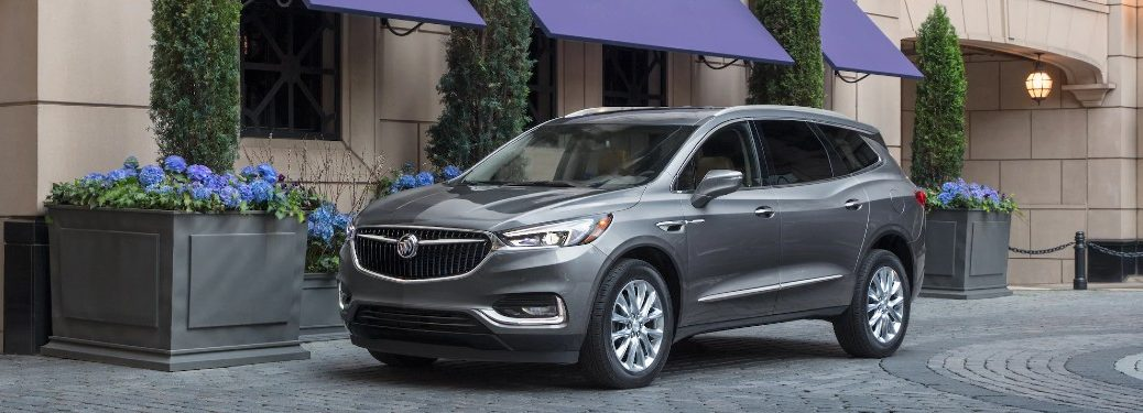 Front driver angle of a grey 2020 Buick Enclave