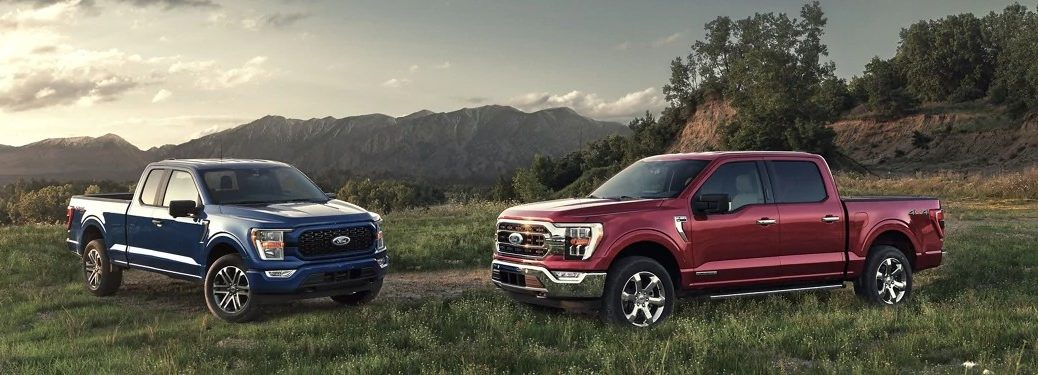 A blue 2021 Ford F-150 truck parked near a red 2021 Ford F-150 truck in a field of grass