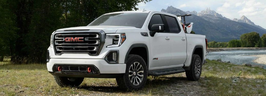 Front driver angle of a white 2021 GMC Sierra 1500