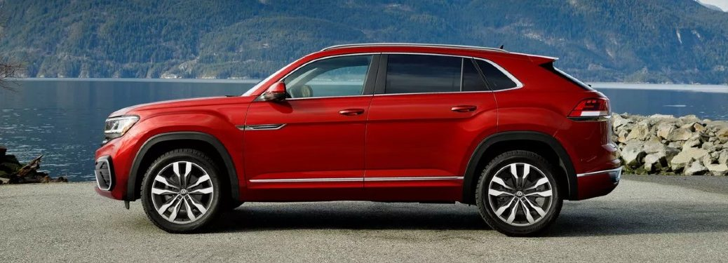 Driver angle of a red 2021 Volkswagen Atlas Cross Sport
