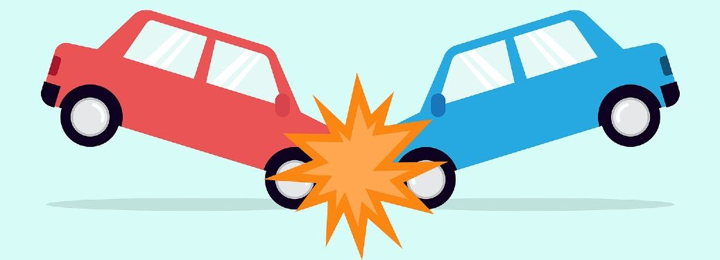 Graphic of two cars colliding with each other
