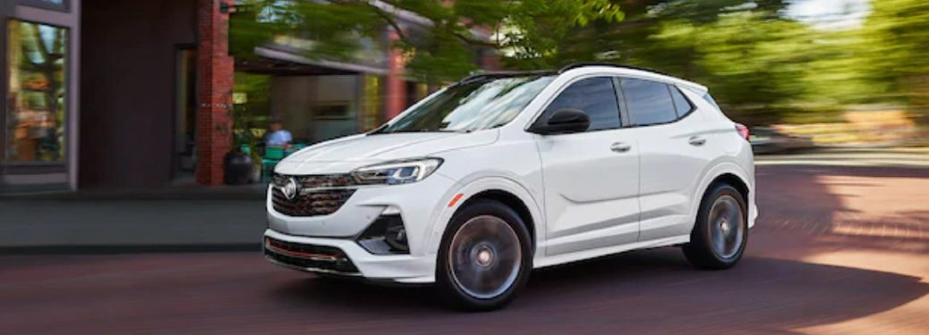 Front driver angle of a white 2021 Buick Encore GX