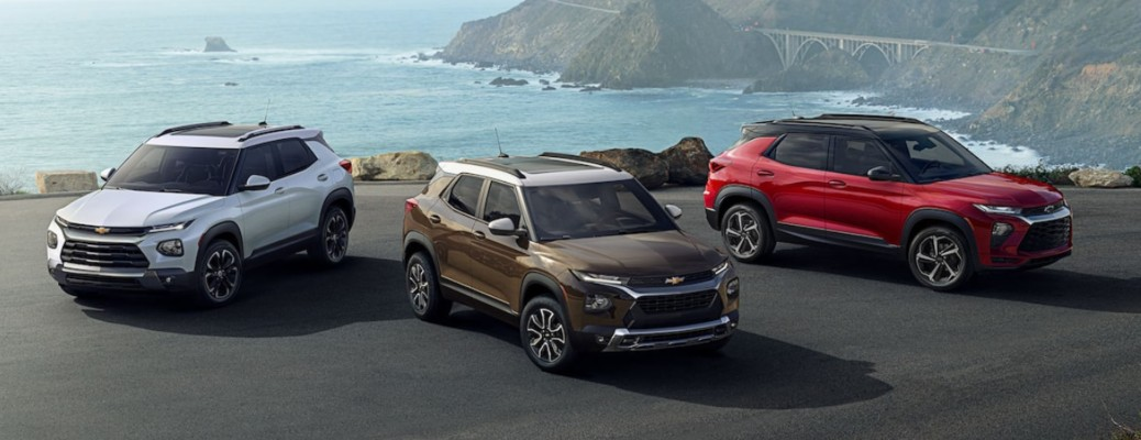 2022 Chevy Trailblazer multiple models lined up on the coast