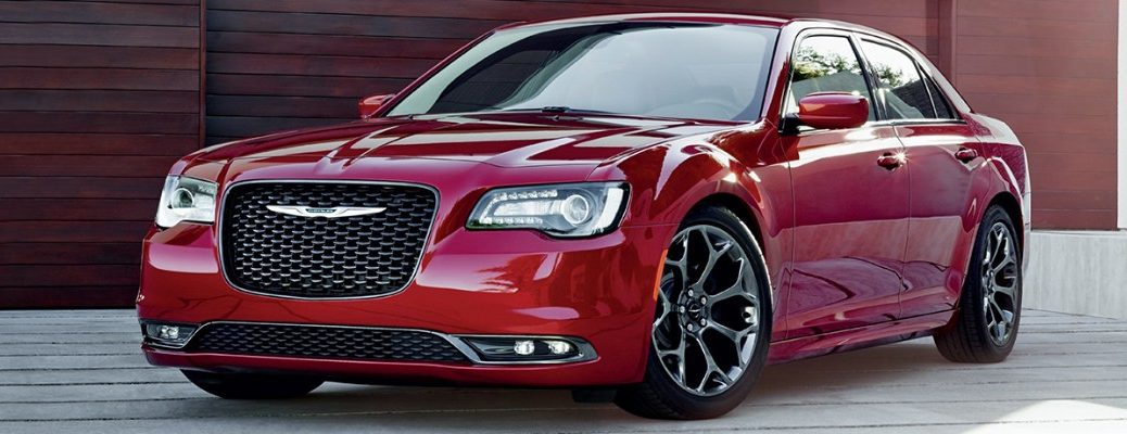 Front/side profile of red 2019 Chrysler 300