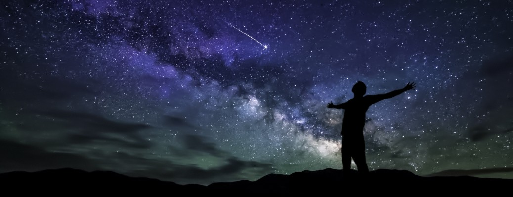 Silhouetted person looking up at a starry sky