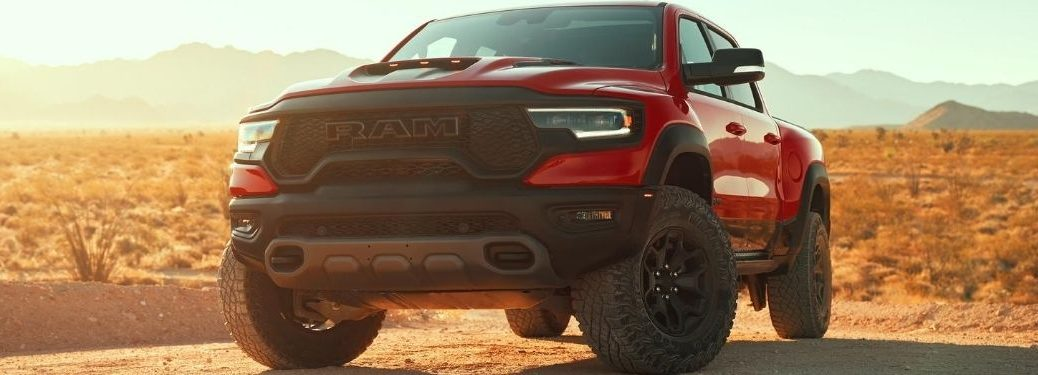 Red 2021 Ram 1500 TRX Front Exterior and Grille in Desert