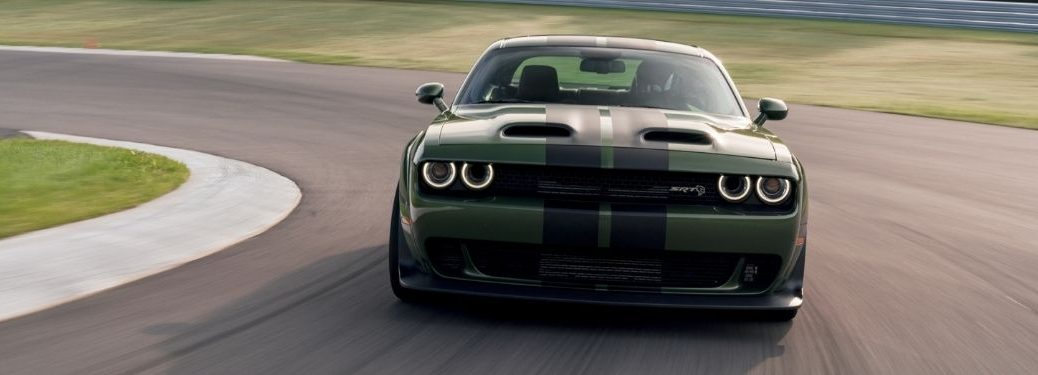 Green 2021 Dodge Challenger on a Track