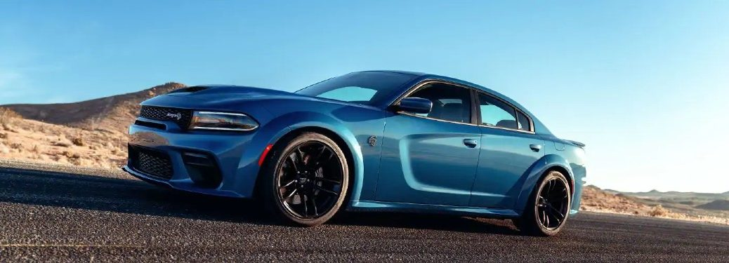 2021 Dodge Charger blue exterior driving on desert race track
