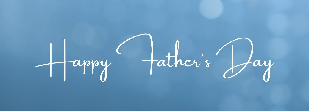 Happy Father's Day on blue background with white lights