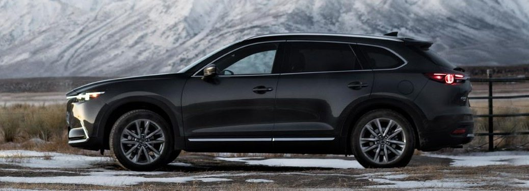 Driver angle of a black 2019 Mazda CX-9 parked outdoors with snowy mountains in the background