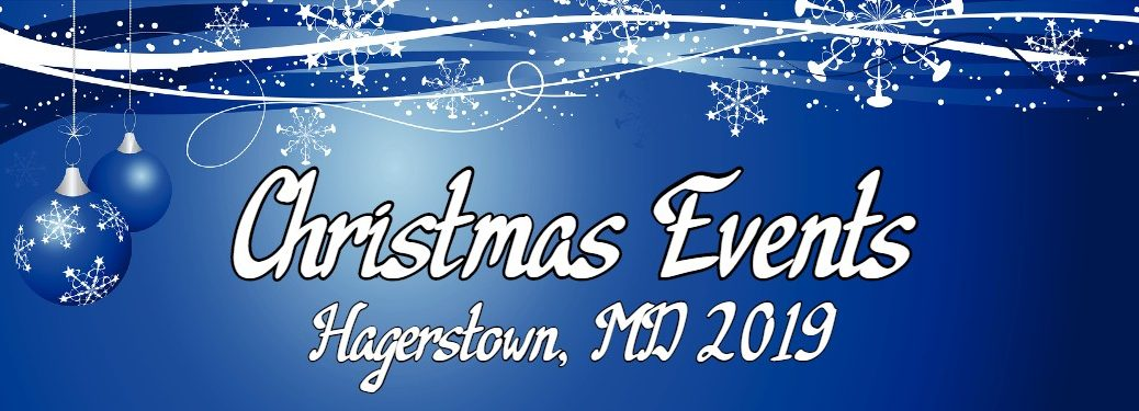 "Blue Christmas banner with the text ""Christmas Events Hagerstown, MD 2019"""