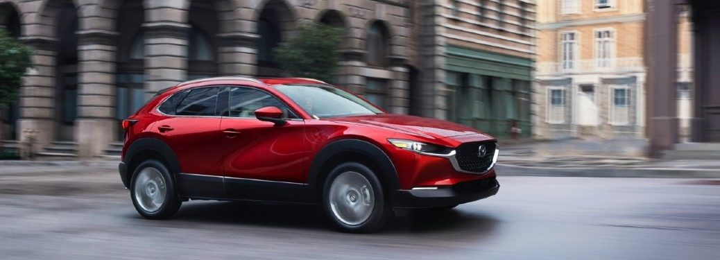 Front passenger angle of a red 2020 Mazda CX-30