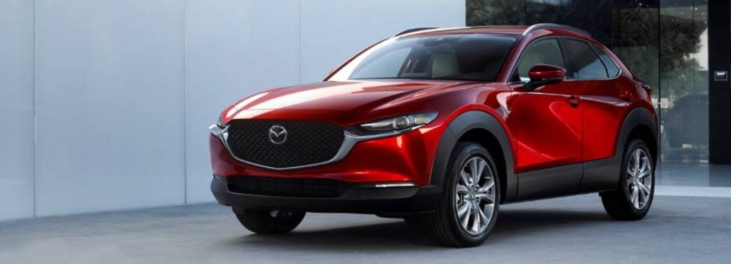 Front driver angle of a red 2020 Mazda CX-30