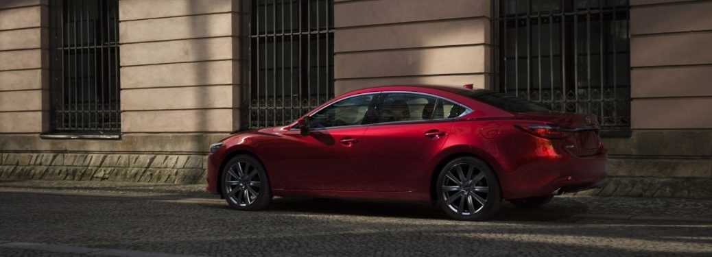 Rear driver angle of a red 2021 Mazda6