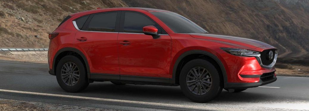 Passenger angle of a red 2021 Mazda CX-5