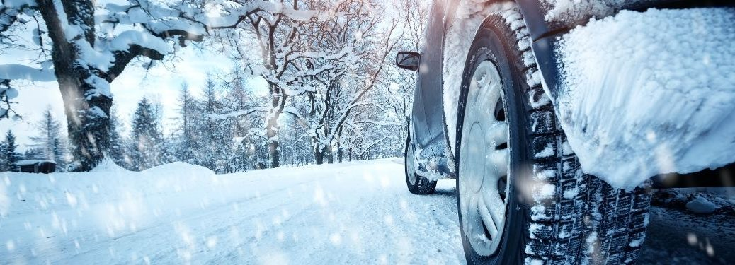 low view of vehicle on snowy road