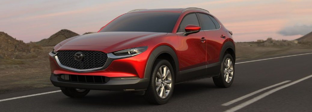 Front driver angle of a red 2021 Mazda CX-30