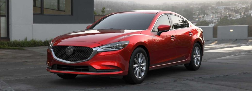 Front driver angle of a red 2021 Mazda6