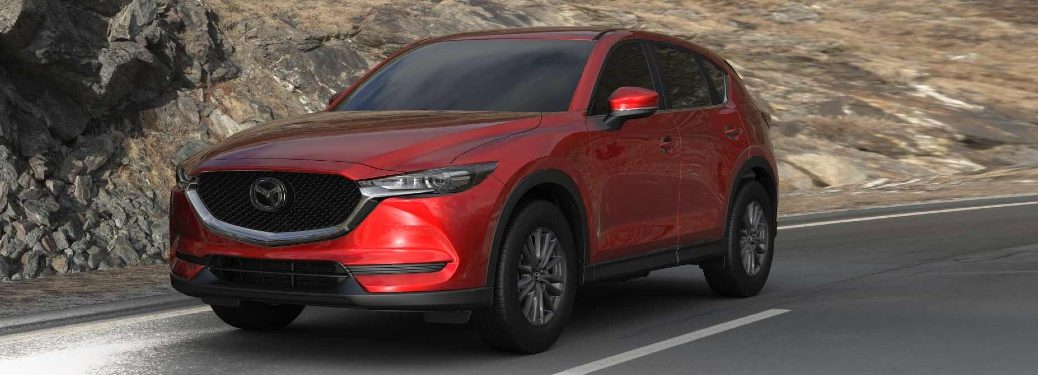 Front driver angle of a red 2021 Mazda CX-5
