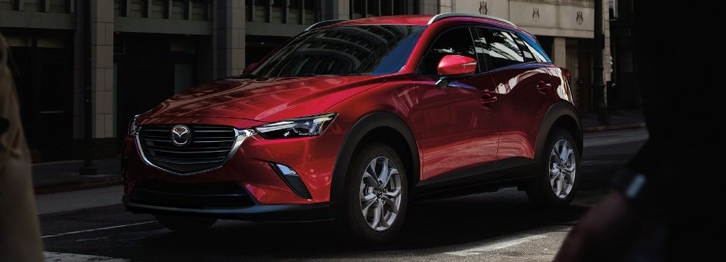 Front driver angle of a red 2021 Mazda CX-3