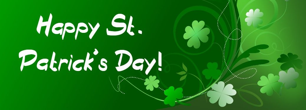 "Green St. Patrick's Day graphic with the text ""Happy St. Patrick's Day!"""