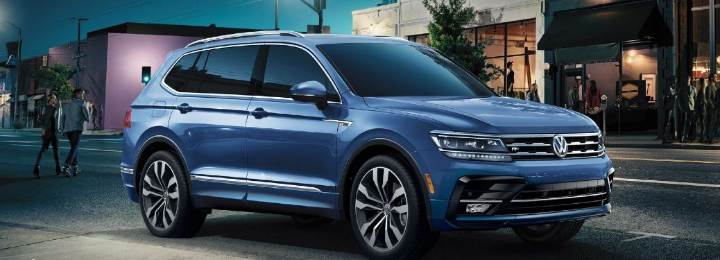 Front passenger angle of a blue 2020 Volkswagen Tiguan