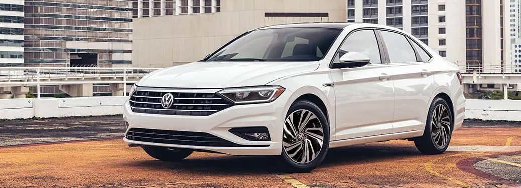 Front driver angle of a white 2021 Volkswagen Jetta
