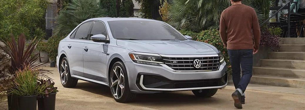Front passenger angle of a silver 2021 Volkswagen Passat