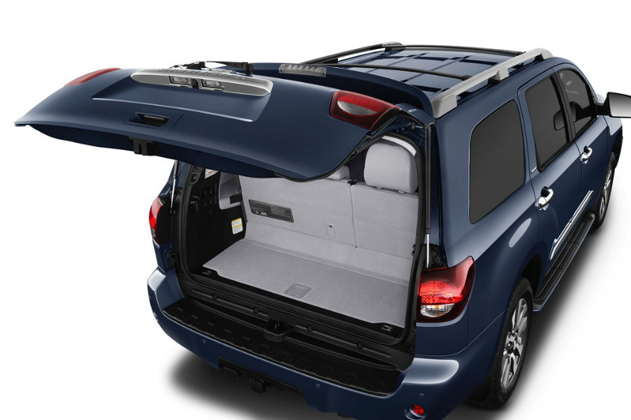 rear liftgate of 2018 toyota sequoia open to reveal major space for stuff behind third row limited trim