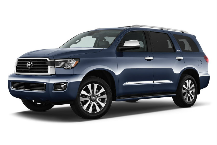 2018 toyota sequoia exterior in blue limited trim against white background