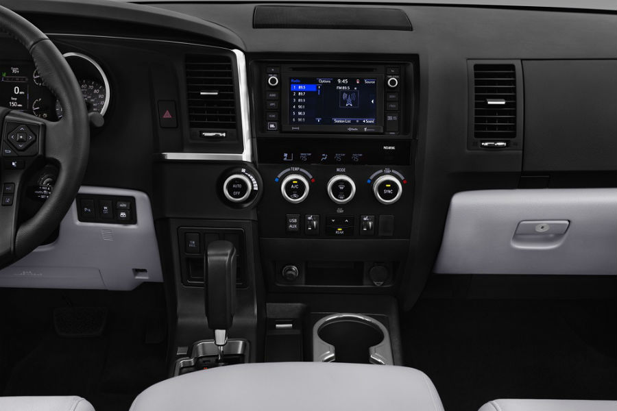 2018 toyota sequoia interior infotainment system and dashboard in limited trim