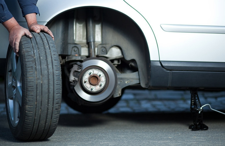 Changing tires on a vehicle