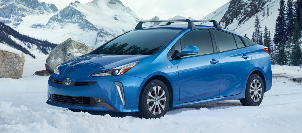 blue toyota prius in the snow