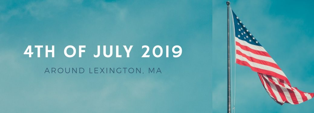 American-flag-flying-on-pole-with-4th-of-July-2019-around-Lexington-MA-title