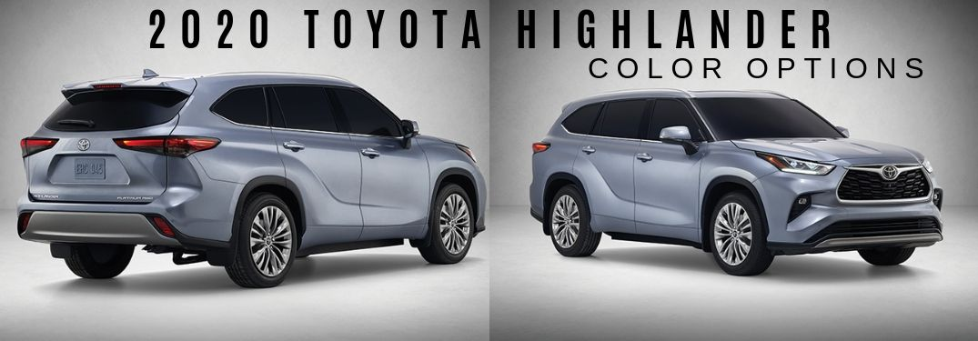 What color options are available on the 2020 Toyota Highlander?