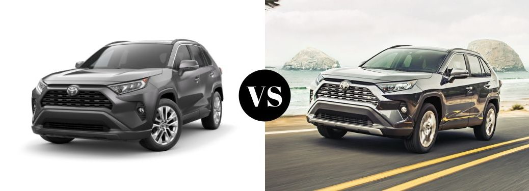 gray-2019-Toyota-RAV4-XLE-Premium-and-Limited-models-set-against-one-another