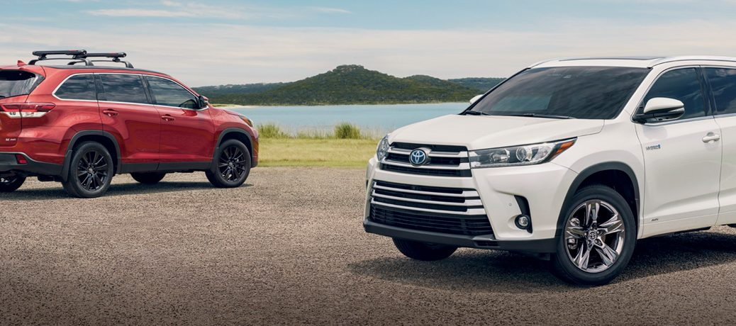 red and white 2019 Toyota Highlander SUVs next to each other