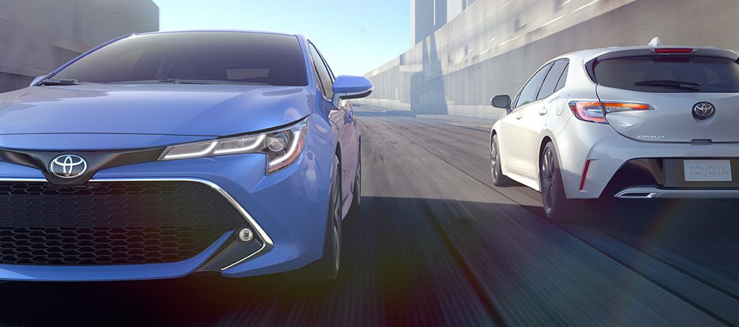 2019 toyota corolla hatchback driving on a highway
