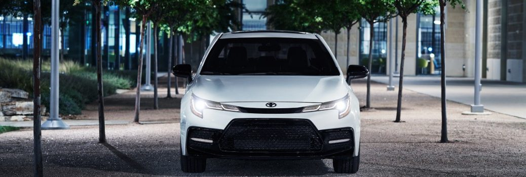 front of silver 2020 Corolla Nightshade Edition