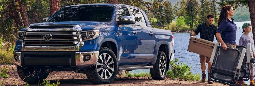 2020 Toyota Tundra with family walking next to it