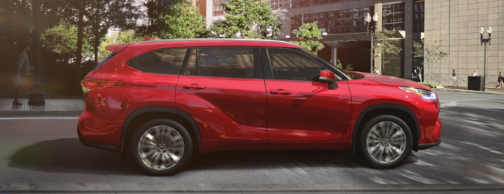 sideview of the red 2020 Highlander
