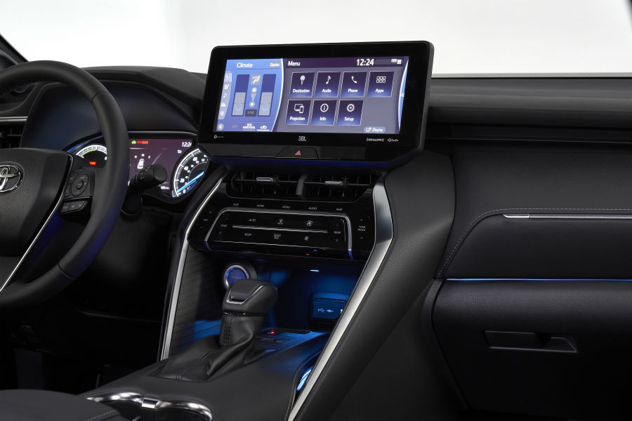 A photo of the center stack and touchscreen in the 2021 Toyota Venza.