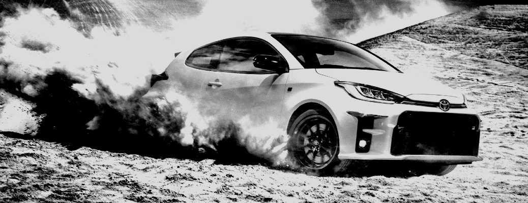 A black and white photo of a future Toyota concept vehicle.