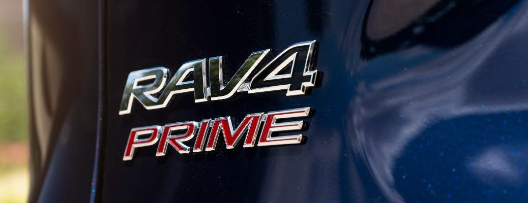 A photo of the RAV4 Prime badge used on the back of the 2021 Toyota RAV4 Prime