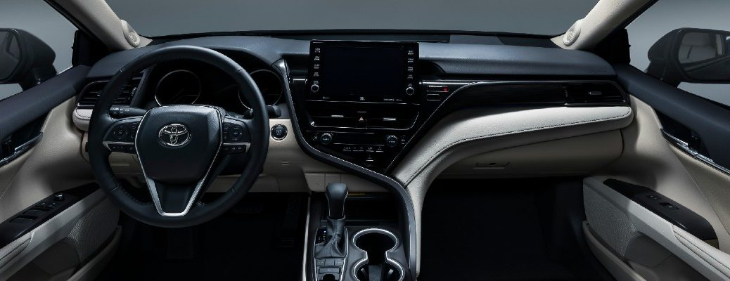 A photo of the dashboard in the 2021 Toyota Camry.