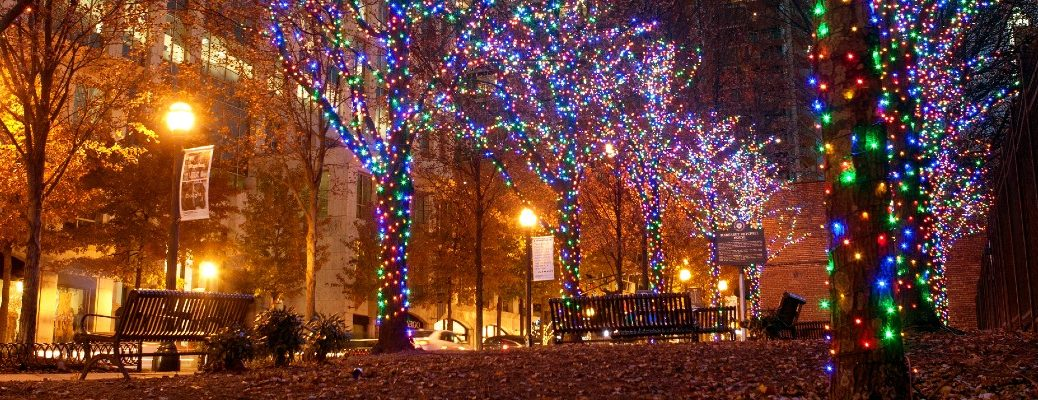 A stock photo of a holiday light display.