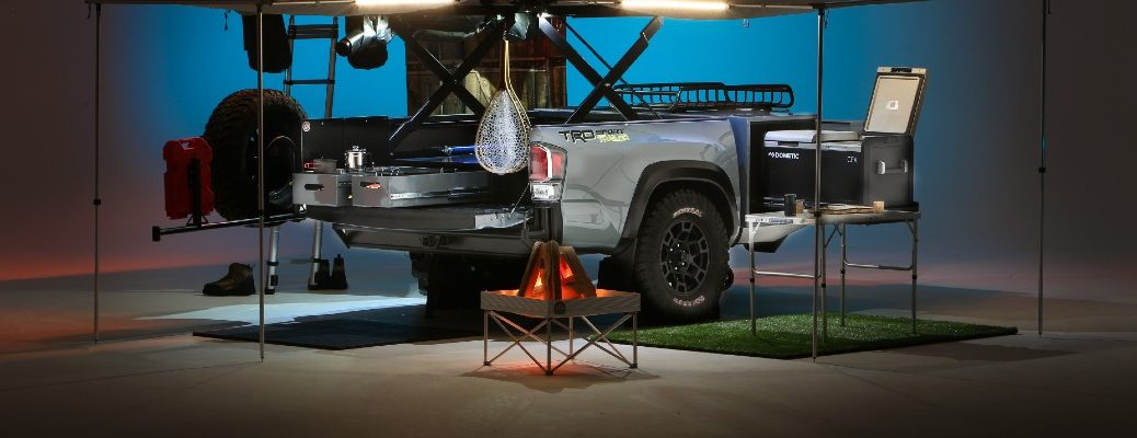 A photo of the camping setup offered for the Toyota Tacoma.