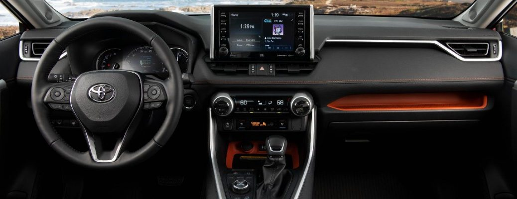 A photo of the dashboard in the 2021 Toyota RAV4.