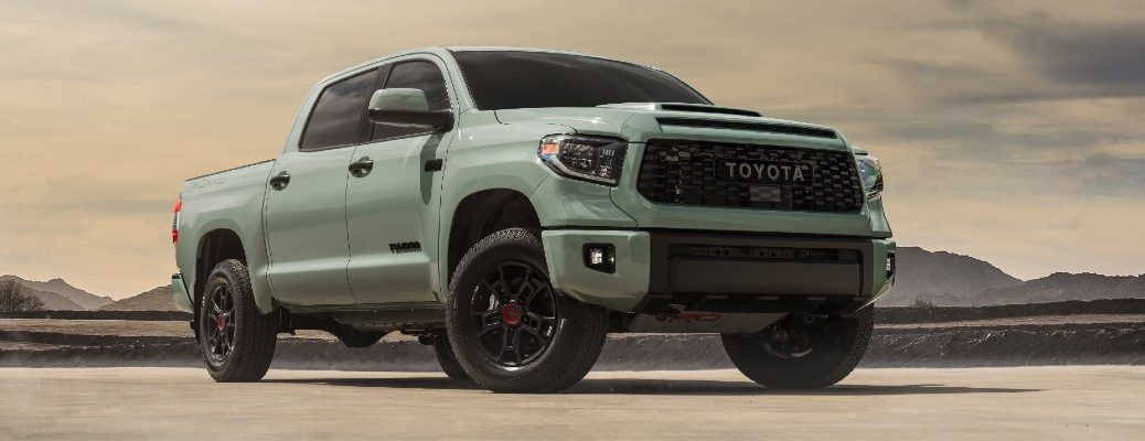 A photo of the 2021 Toyota Tundra parked in the desert.