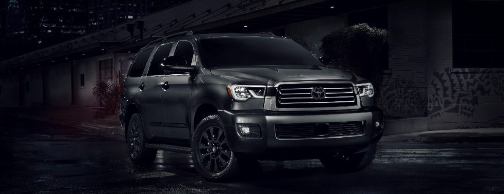 A front-end photo of the 2021 Toyota Sequoia Nightshade Special Edition.